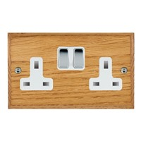 Picture of 2 Gang 13A Double Pole Switched Socket / Bright Chrome / Woods Medium Oak Chamfered Edge with White Surround Inserts