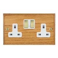 Picture of 2 Gang 13A Double Pole Switched Socket / Polished Brass / Woods Medium Oak Chamfered Edge with White Surround Inserts
