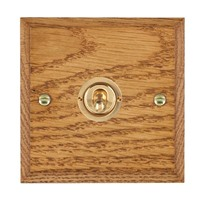 Picture of 1 Gang 20AX 2 Way Toggle Switch / Polished Brass / Woods Medium Oak Chamfered Edge with White Surround Inserts