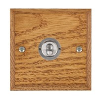 Picture of 1 Gang 20AX 2 Way Toggle Switch / Satin Chrome / Woods Medium Oak Chamfered Edge with White Surround Inserts