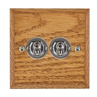 Picture of 2 Gang 20AX 2 Way Toggle Switch / Bright Chrome / Woods Medium Oak Chamfered Edge with White Surround Inserts