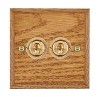 Picture of 2 Gang 20AX 2 Way Toggle Switch / Polished Brass / Woods Medium Oak Chamfered Edge with White Surround Inserts