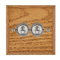 Picture of 2 Gang 20AX 2 Way Toggle Switch / Satin Chrome / Woods Medium Oak Chamfered Edge with White Surround Inserts