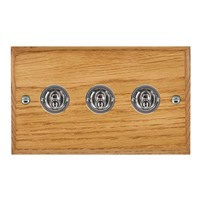 Picture of 3 Gang 20AX 2 Way Toggle Switch / Bright Chrome / Woods Medium Oak Chamfered Edge with White Surround Inserts