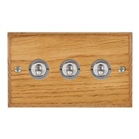 Picture of 3 Gang 20AX 2 Way Toggle Switch / Satin Chrome / Woods Medium Oak Chamfered Edge with White Surround Inserts