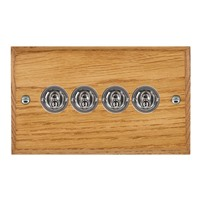 Picture of 4 Gang 20AX 2 Way Toggle Switch / Bright Chrome / Woods Medium Oak Chamfered Edge with White Surround Inserts
