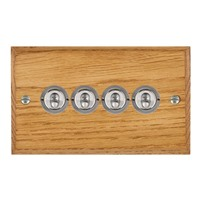 Picture of 4 Gang 20AX 2 Way Toggle Switch / Satin Chrome / Woods Medium Oak Chamfered Edge with White Surround Inserts