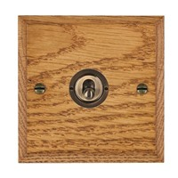 Picture of 1 Gang 20AX Intermediate Toggle Switch / Antique Brass / Woods Medium Oak Chamfered Edge with White Surround Inserts