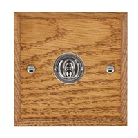 Picture of 1 Gang 20AX Intermediate Toggle Switch / Bright Chrome / Woods Medium Oak Chamfered Edge with White Surround Inserts