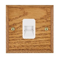 Picture of 1 Gang Telephone Slave / White Plastic / Woods Medium Oak Chamfered Edge with White Surround Inserts
