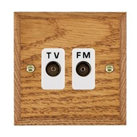 Picture of Isolated TV/FM Diplexer 1 In/ 2 Out / White Plastic / Woods Medium Oak Chamfered Edge with White Surround Inserts