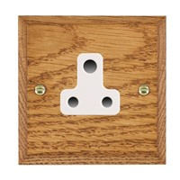 Picture of 1 Gang 5A Unswitched Socket / White Plastic / Woods Medium Oak Chamfered Edge with White Surround Inserts