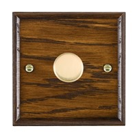 Picture of 1 Gang 400W 2 Way Dimmer / Polished Brass / Woods Dark Oak Ovolo Edge with Black Surround Inserts