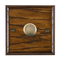 Picture of 1 Gang 600W 2 Way Dimmer / Antique Brass / Woods Dark Oak Ovolo Edge with Black Surround Inserts