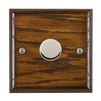 Picture of 1 Gang 600W 2 Way Dimmer / Bright Chrome / Woods Dark Oak Ovolo Edge with Black Surround Inserts