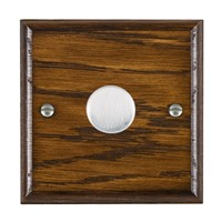 Picture of 1 Gang 250W/210VA Trailing Edge Multi-Way Dimmer / Satin Chrome / Woods Dark Oak Ovolo Edge with White Surround Inserts