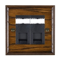 Picture of 2 Gang RJ12 Outlet Unshielded / Black Plastic / Woods Dark Oak Ovolo Edge with Black Surround Inserts