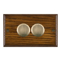 Picture of 2 Gang 400W 2 Way Dimmer / Antique Brass / Woods Dark Oak Ovolo Edge with Black Surround Inserts