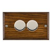 Picture of 2 Gang 400W 2 Way Dimmer / Bright Chrome / Woods Dark Oak Ovolo Edge with Black Surround Inserts