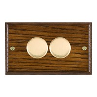 Picture of 2 Gang 400W 2 Way Dimmer / Polished Brass / Woods Dark Oak Ovolo Edge with Black Surround Inserts