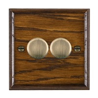 Picture of 2 Gang 250W/210VA Trailing Edge Multi-Way Dimmer / Antique Brass / Woods Dark Oak Ovolo Edge with White Surround Inserts