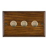 Picture of 3 Gang 250W/210VA Trailing Edge Multi-Way Dimmer / Antique Brass / Woods Dark Oak Ovolo Edge with White Surround Inserts
