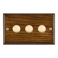 Picture of 3 Gang 250W/210VA Trailing Edge Multi-Way Dimmer / Polished Brass / Woods Dark Oak Ovolo Edge with White Surround Inserts
