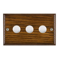 Picture of 3 Gang 250W/210VA Trailing Edge Multi-Way Dimmer / Satin Chrome / Woods Dark Oak Ovolo Edge with White Surround Inserts