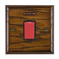 Picture of 1 Gang 45A Double Pole Red Rocker + Neon / Red Plastic / Woods Dark Oak Ovolo Edge with Black Surround Inserts