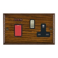 Picture of 45A Double Pole Red Rocker + Neon + 13A Switched Socket / Antique Brass / Woods Dark Oak Ovolo Edge with Black Surround Inserts