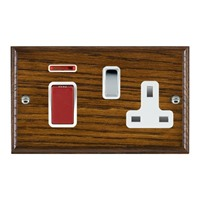 Picture of 45A Double Pole Red Rocker + 13A Switched Socket / Bright Chrome / Woods Dark Oak Ovolo Edge with White Surround Inserts