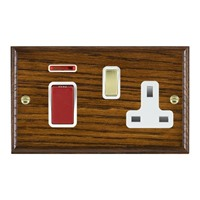 Picture of 45A Double Pole Red Rocker + 13A Switched Socket / Polished Brass / Woods Dark Oak Ovolo Edge with White Surround Inserts
