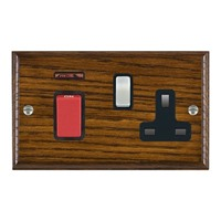 Picture of 45A Double Pole Red Rocker + Neon + 13A Switched Socket / Satin Chrome / Woods Dark Oak Ovolo Edge with Black Surround Inserts