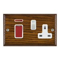 Picture of 45A Double Pole Red Rocker + 13A Switched Socket / Satin Chrome / Woods Dark Oak Ovolo Edge with White Surround Inserts