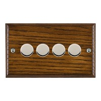 Picture of 4 Gang 400W 2 Way Dimmer / Bright Chrome / Woods Dark Oak Ovolo Edge with Black Surround Inserts
