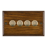 Picture of 4 Gang 250W/210VA Trailing Edge Multi-Way Dimmer / Antique Brass / Woods Dark Oak Ovolo Edge with White Surround Inserts