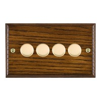 Picture of 4 Gang 250W/210VA Trailing Edge Multi-Way Dimmer / Polished Brass / Woods Dark Oak Ovolo Edge with White Surround Inserts