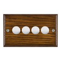 Picture of 4 Gang 250W/210VA Trailing Edge Multi-Way Dimmer / Satin Chrome / Woods Dark Oak Ovolo Edge with White Surround Inserts