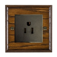 Picture of 1 Gang 15A American Unswitched Socket / Black Plastic / Woods Dark Oak Ovolo Edge with Black Surround Inserts