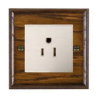 Picture of 1 Gang 15A American Unswitched Socket / White Plastic / Woods Dark Oak Ovolo Edge with White Surround Inserts