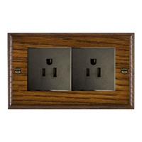 Picture of 2 Gang 15A American Unswitched Socket / Black Plastic / Woods Dark Oak Ovolo Edge with Black Surround Inserts