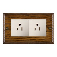 Picture of 2 Gang 15A American Unswitched Socket / White Plastic / Woods Dark Oak Ovolo Edge with White Surround Inserts