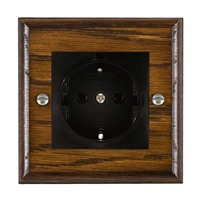 Picture of 1 Gang 16A German Unswitched Socket / Black Plastic / Woods Dark Oak Ovolo Edge with Black Surround Inserts