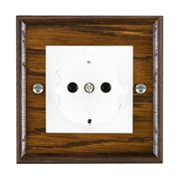 Picture of 1 Gang 16A German Unswitched Socket / White Plastic / Woods Dark Oak Ovolo Edge with White Surround Inserts