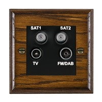 Picture of Non Isolated TV/ FM/ Satellite 1/ Satellite 2 Quadplexer 2 In/ 4 Out / Black Plastic / Woods Dark Oak Ovolo Edge with Black Surround Inserts