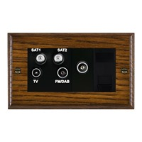 Picture of Non Isolated TV/ FM/ Satellite 1/ Satellite 2 Quadplexer 2 In/ 4 Out + TVF + TCS / Black Plastic / Woods Dark Oak Ovolo Edge with Black Surround Inserts