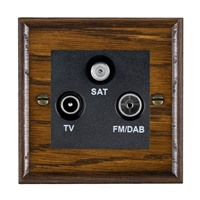 Picture of Non Isolated TV/FM/Satellite Triplexer 1 In/ 3 Out / Black Plastic / Woods Dark Oak Ovolo Edge with Black Surround Inserts