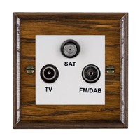 Picture of Non Isolated TV/FM/ Satellite Triplexer 1 In/ 3 Out / White Plastic / Woods Dark Oak Ovolo Edge with White Surround Inserts