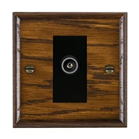 Picture of 1 Gang TV Non Isolated (Female) / Black Plastic / Woods Dark Oak Ovolo Edge with Black Surround Inserts
