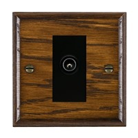 Picture of 1 Gang TV Non Isolated (Male) / Black Plastic / Woods Dark Oak Ovolo Edge with Black Surround Inserts